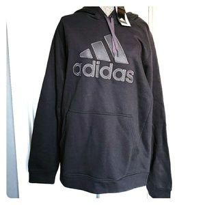 NWT Adidas Black & Gray Logo Hoodie Sweatshirt L